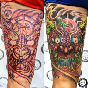 japanese freehand color mask oni tattoo patong