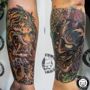 japanese color tiger mask tattoo phuket