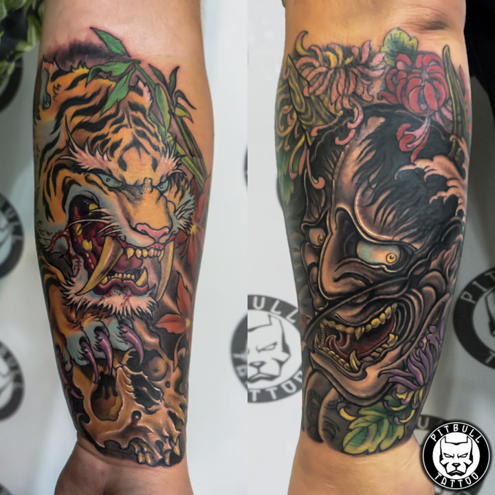 color japanese tiger mask oni tattoo patong