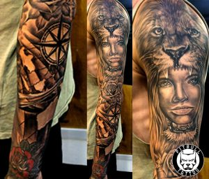 black and grey realistic full arm sleeve tattoo patong