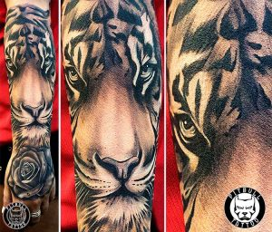 realistic tiger black and grey forearm girl tattoo patong