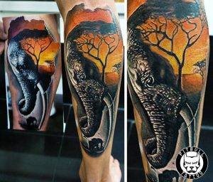 elephant color realistic tattoo phuket