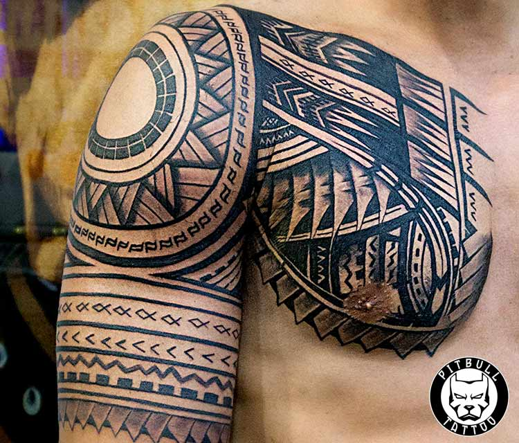 maori tribal shoulder chest tattoo patong