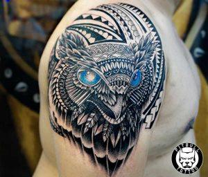islander owl shoulder tattoo phuket