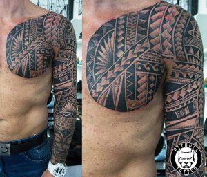 polynesian full arm sleeve chest tattoo patong
