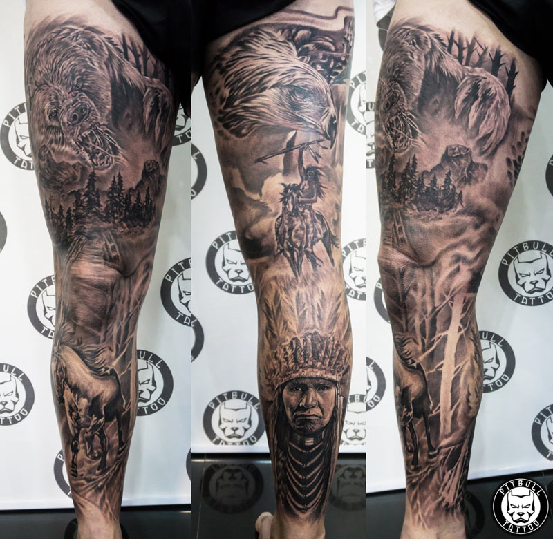 full leg sleeve black grey realistic