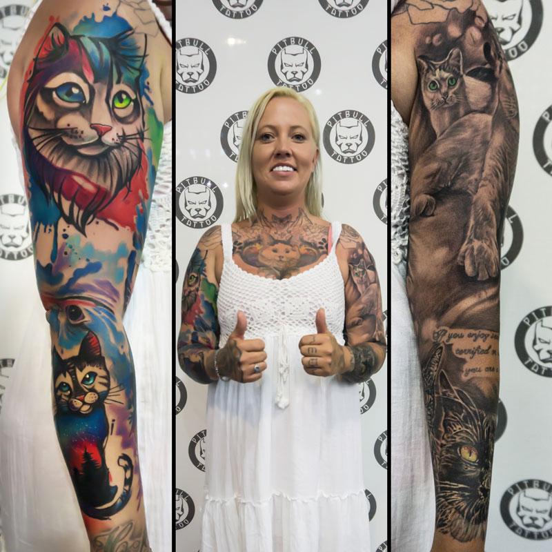 Customer of Pitbull Tattoo Phuket with color and black grey tattoos