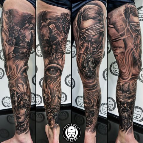 black and grey leg sleeve
