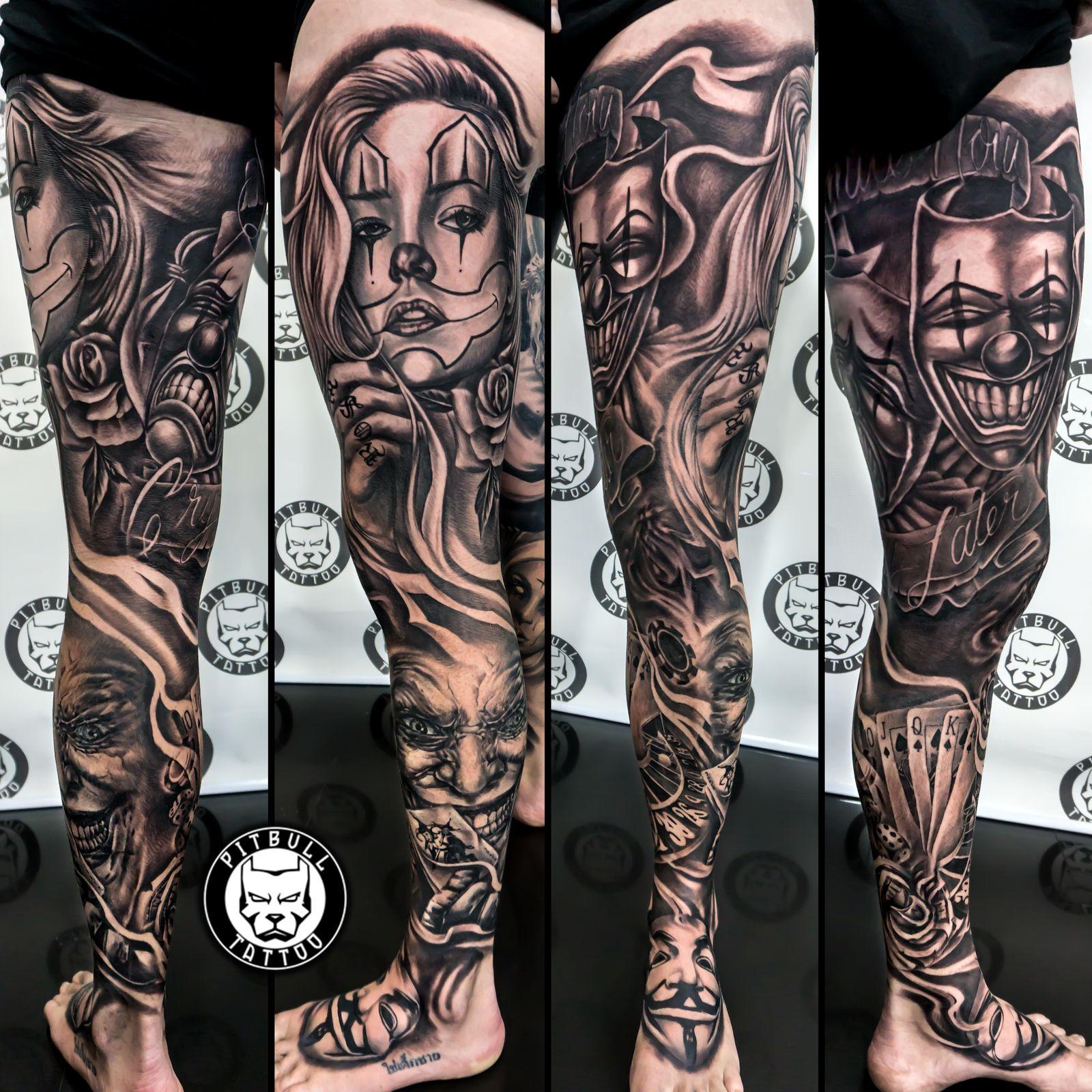 black grey tattoo full leg