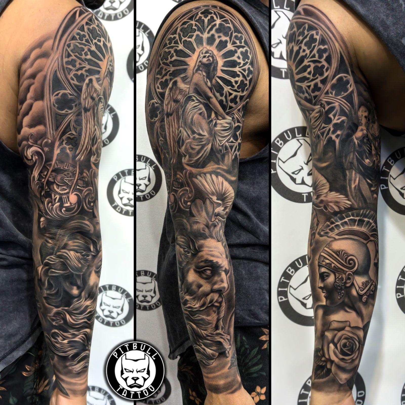 Black grey tattoo full arm sleve
