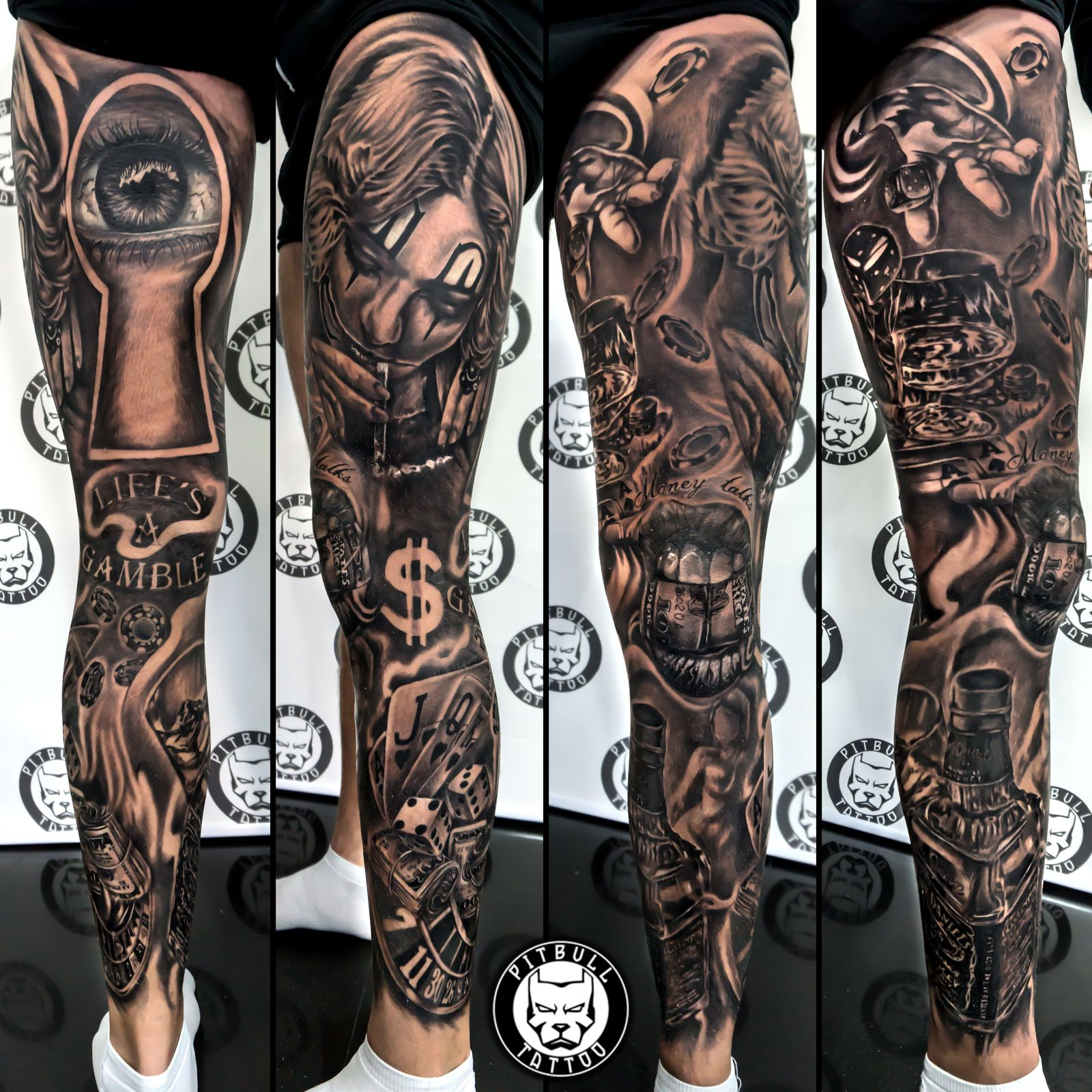 Black grey tattoo full leg