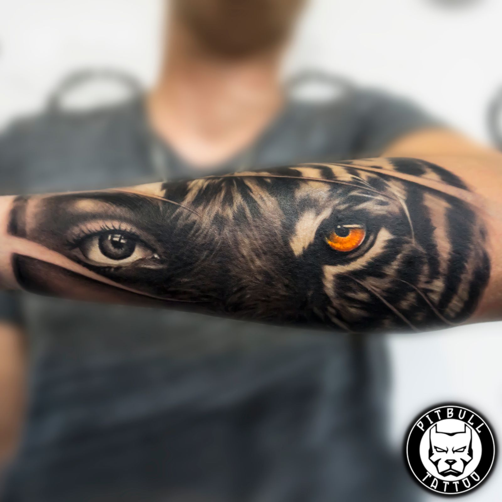 black grey tattoo half arm